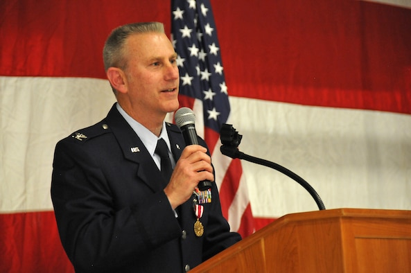 Ret. Col. Chris Turner, former 190th ARW vice commander, speaks during his retirement ceremony Jan. 8, 2017, in the engine shop at Forbes Field, Kans. Turner had spent the past 20 years with the unit, two of which he served as the Wing's vice commander. (U.S. Air Force photo by Senior Airman Emily E. Amyotte)
