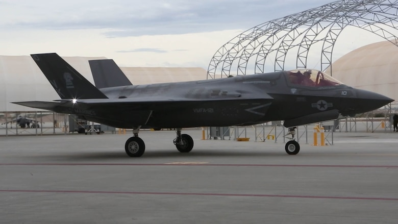 An F-35B lightning II with Marine Fighter Attack Squadron (VMFA) 121 prepares to take off aboard Marine Corps Air Station Yuma, Ariz., Jan. 9, 2017, as it transits the Pacific en route to Marine Corps Air Station Iwakuni, Japan. VMFA-121 is the first operational F-35B squadron in the Marine Corps, with its relocation to 1st Marine Aircraft Wing at Iwakuni.  The F-35B was developed to replace the Marine Corps' F/A-18 Hornet, AV-8B Harrier and EA- 6B Prowler. The Short Take-off Vertical Landing (STOVL) aircraft is a true force multiplier. The unique combination of stealth, cutting-edge radar and sensor technology, and electronic warfare systems bring all of the access and lethality capabilities of a fifth-generation fighter, a modern bomber, and an adverse-weather, all-threat environment air support platform.