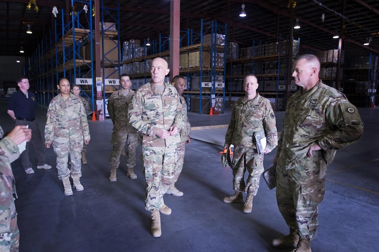 U.S. Army Reserve Commanding General, LTG Charles D. Luckey, tours the Iraq Train and Equipment Fund (ITEF) warehouse at Camp Arifjan, Kuwait, Jan. 4, 2017.