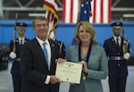 Defense Secretary Ash Carter presents Air Force Secretary Deborah Lee James with the Department of Defense Medal for Distinguished Public Service during James' farewell ceremony at Joint Base Andrews, Md., Jan. 11, 2017. DoD photo by Air Force Tech. Sgt. Brigitte N. Brantley