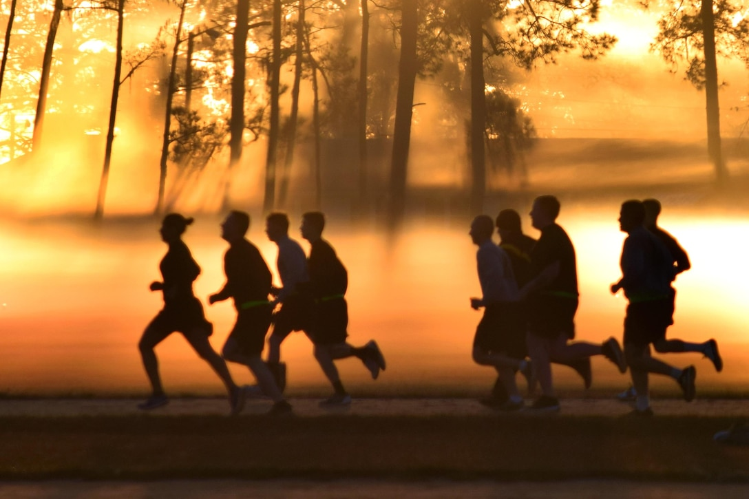 Soldiers participate in a sunrise run during annual training at Fort Stewart, Ga., Jan. 11, 2017. The soldiers are assigned to the Georgia National Guard's 78th Troop Command, 110th Combat Services Support Battalion. Army National Guard photo by Capt. William Carraway