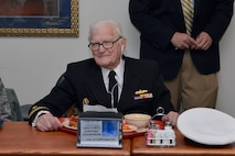 Retired Navy Lt. Jim Downing, a survivor of the attack on Pearl Harbor, is seen here in the dining hall at the U.S. Air Force Academy Preparatory School, Jan 6, 2016. Downing had lunch with the cadet candidates and spoke to them from the Community Center Theater stage later that day about his life of military service. U.S. Air Force photo/Jason Gutierrez)