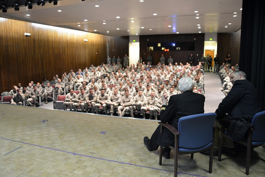 U.S. Air Force Academy Preparatory School cadet candidates pack the Community Center Theater at the U.S. Air Force Academy Jan. 6, 2016, to hear retired Navy Lt. Jim Downing (left, onstage) share his story of military service and surviving the attack on Pearl Harbor. Downing, 103, is the second-oldest known survivor of the Dec. 7, 1941 attack on Pearl Harbor by the Imperial Japanese. (U.S. Air Force photo/Jason Gutierrez)