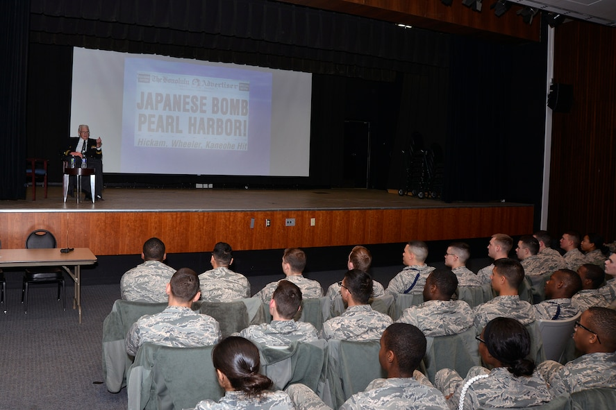 Retired Navy Lt. Jim Downing shares his story of military service and surviving the attack on Pearl Harbor with U.S. Air Force Academy Preparatory School cadet candidates, Jan. 6, 2016, at the U.S. Air Force Academy. Downing, 103, is the second oldest known survivor of the Dec. 7, 1941 attack on Pearl Harbor by the Imperial Japanese. (U.S. Air Force photo/Jason Gutierrez)