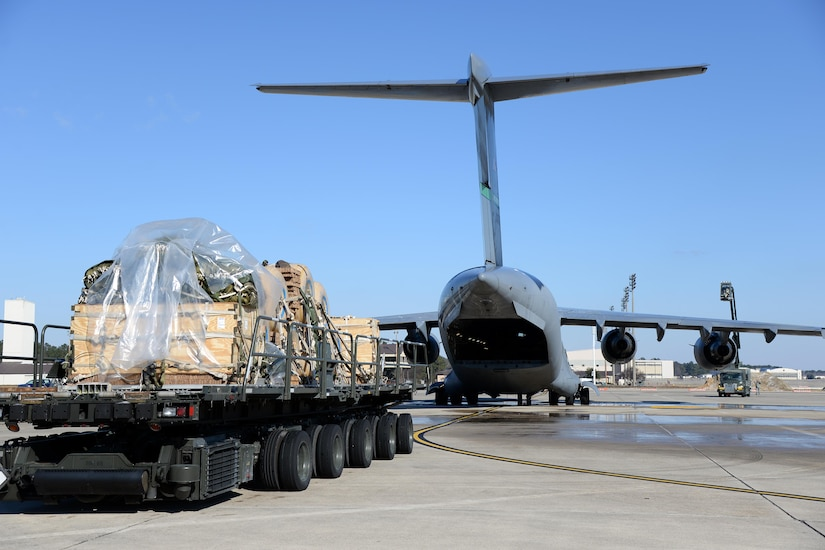 Cargo stands by to be loaded onto a C-17 Globemaster III during a Deployment Readiness Exercise on Pope Army Airfield Jan. 8, 2017. The DRE focused on evaluating the 43rd Air Mobility Operations Group's outbound processes. The 43rd AMOG and 82nd Airborne Division worked together to simulate a short-notice Global Response Force deployment, packaging, inspecting and loading cargo for the purposes of the exercise. (U.S. Air Force photo by Master Sgt. Thomas J. Doscher/released)