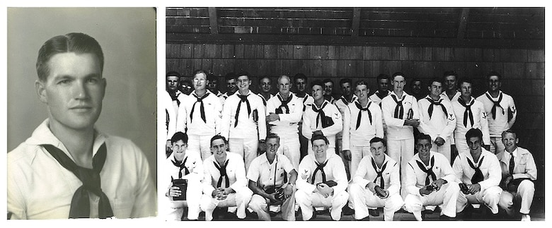 Retired Navy Lt. Jim Downing is seen here as an enlisted seaman in two U.S. Navy photos. On the right, Downing is seated in the bottom row, fourth from the left. Downing, 103,is the second-oldest know survivor of the Dec. 7, 1941 attack on Pearl Harbor by the Imperial Japanese.(Courtesy photo/Jim Downing)