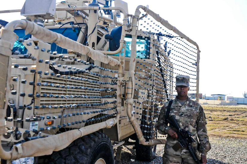 Pfc. Nessy Sanders, stands next to the vehicle she drove in Iraq during Operation Inherent Resolve. In August 2016, Sanders became the first female to deploy to Erbil, Iraq as a Combat Engineer since the Military Occupational Specialty 12B was opened to women in June 2015. Sanders is assigned to Company B, 39th Brigade Engineer Battalion, 101st Airborne Division. A Combat Engineers duties include constructing fighting positions, fixed and floating bridges, obstacles and defensive positions and emplacing and detonationg explosives. Sanders is from Columbus, Mississippi. Her mother also served in the Army in the mid-1980s.