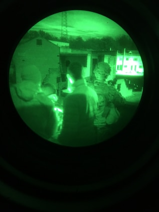 Marines from the School of Infantry–East at Camp Lejeune, N.C., participate in a target detection speed exercise in December aboard Marine Corps Base Quantico, Va. Marines evaluated various commercially-available night vision goggle attachments as part of Marine Corps Systems Command's Infantry Equipping Challenge. The IEC is an ongoing effort to leverage new and emerging technologies from industry to enhance the capability of Infantry Marines. (U.S. Marine Corps photo by Ashley Calingo)