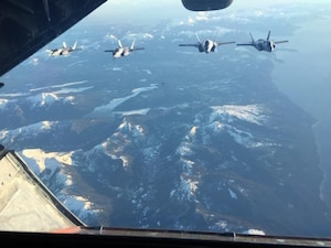 Marine Corps F-35Bs from Marine Fighter Attack Squadron (VMFA) 121, 3rd Marine Aircraft Wing, transit the Pacific from Marine Corps Air Station Yuma, Ariz., to Joint Base Elmendorf-Richardson, Alaska, Jan. 9, 2017, with its final destination of Iwakuni, Japan.  VMFA-121 is the first operational F-35B squadron assigned to the Fleet Marine Force, with its relocation to 1st Marine Aircraft Wing at Iwakuni.  The F-35B was developed to replace the Marine Corps' F/A-18 Hornet, AV-8B Harrier and EA- 6B Prowler. The Short Take-off Vertical Landing (STOVL) aircraft is a true force multiplier. The unique combination of stealth, cutting-edge radar and sensor technology, and electronic warfare systems bring all of the access and lethality capabilities of a fifth-generation fighter, a modern bomber, and an adverse-weather, all-threat environment air support platform.