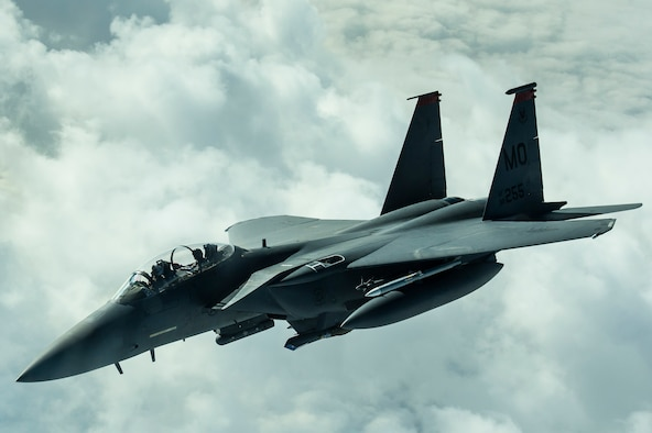 An F-15E Strike Eagle flies over Iraq Dec. 25, 2016. F-15s are providing precision guided close air support during Combined Joint Task Force-Operation Inherent Resolve, a multinational effort to weaken and destroy the Islamic State in Iraq and the Levant operations in the Middle East region and around the world. (U.S. Air Force photo/Senior Airman Tyler Woodward)