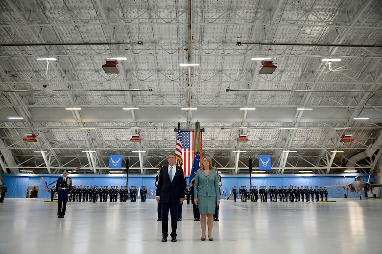 Defense Secretary Ash Carter and Air Force Secretary Deborah Lee James listen to the citation for her Distinguished Public Service Award, during James' farewell ceremony at Joint Base Andrews, Md., Jan. 11, 2017.  James took office as the 23rd secretary of the Air Force in December 2013. (U.S. Air Force photo/Tech. Sgt. Joshua L. DeMotts)