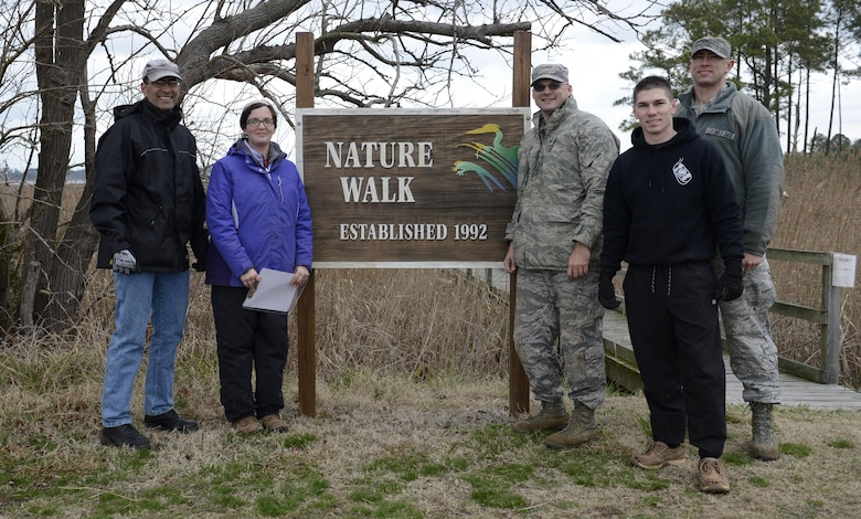 Volunteers helped relocate pollinator plants to the nature trail during a volunteer event at Joint Base Langley-Eustis, Va., Jan. 6, 2017. With volunteer support, relocating the plants from the Bethel Park Garden to the nature trail will allow the plants to better provide food and habitats to the pollinator species living in the area. (U.S. Air Force photo by Airman 1st Class Kaylee Dubois)