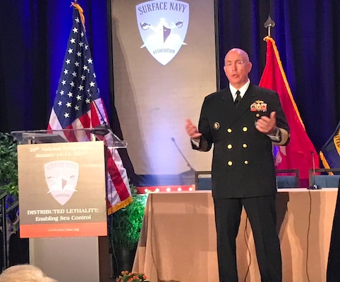 Navy Adm. Kurt W. Tidd, commander of U.S. Southern Command, discusses the virtues of sea power in his keynote address at the Surface Navy Association's 29th National Symposium in Washington, D.C., Jan. 12, 2017. The Jan. 10-12 symposium featured a number of speakers encouraging dialogue and sharing innovations in the surface warfare community. DoD photo by Amaani Lyle
