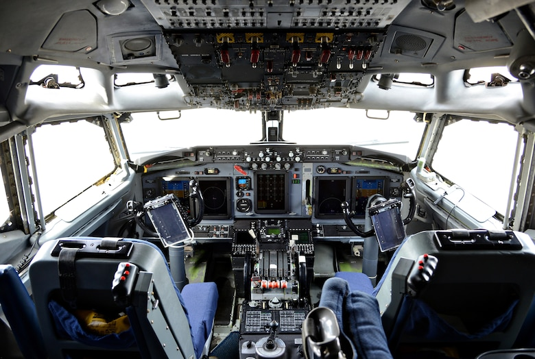 Inside the cockpit of the first of 24 E-3 Sentry aircraft to undergo glass flight deck modification known as DRAGON.  (Air Force photo by Kelly White)