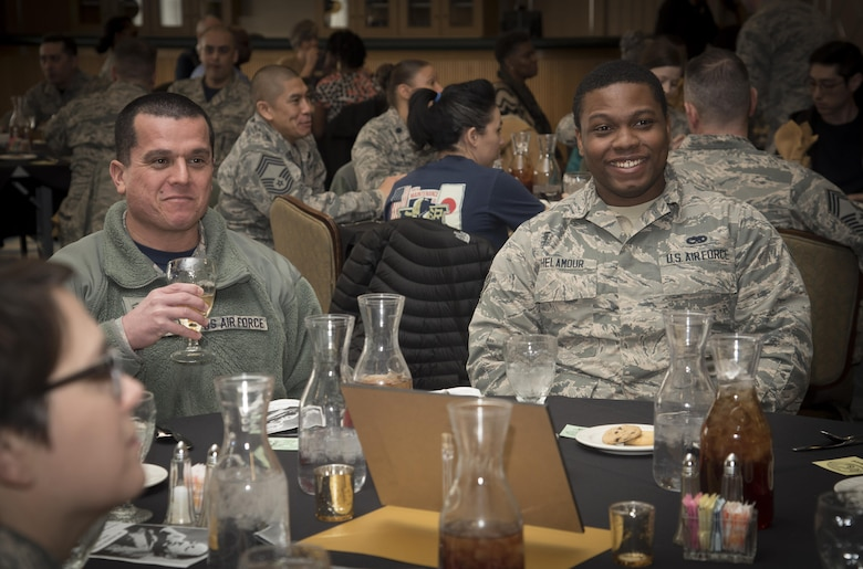 U.S. Air Force Master Sgt. John Macias, left, the 35th Maintenance Squadron metals technology flight chief, and Airman 1st Class Anthony Thelamour, right, a 35th MXS metals technology technician, attend a Martin Luther King Jr. Observance Day luncheon at Misawa Air Base, Japan, Jan. 13, 2017. The luncheon was held to honor Dr. Martin Luther King Jr. as an inspirational man in history. (U.S. Air Force photo by Airman 1st Class Sadie Colbert)