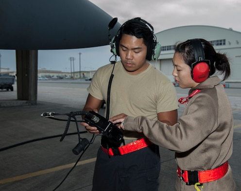 U.S. Air Force Staff Sgt. Kaleena Musumeci, 67th Aircraft Maintenance Unit avionics technician, assists Senior Airman Jason Garciadealba, 67th AMU avionics technician, with a remote control unit Jan. 10, 2017, at Kadena Air Base, Japan. The RCU identifies any problems with the avionics systems of the F-15 Eagle. (U.S. Air Force photo by Senior Airman Lynette M. Rolen/Released)