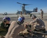 U.S. Marines with Marine Wing Support Squadron 371, Special Purpose Marine Air-Ground Task Force-Crisis Response-Central Command, test their helicopter expedient refueling system while forward deployed in the Middle East, Jan. 6, 2017. This system allows for aircraft to refuel almost anywhere on the battlefield, and extends the reach of the SPMAGTF's crisis response capabilities far beyond their normal area of operation.
