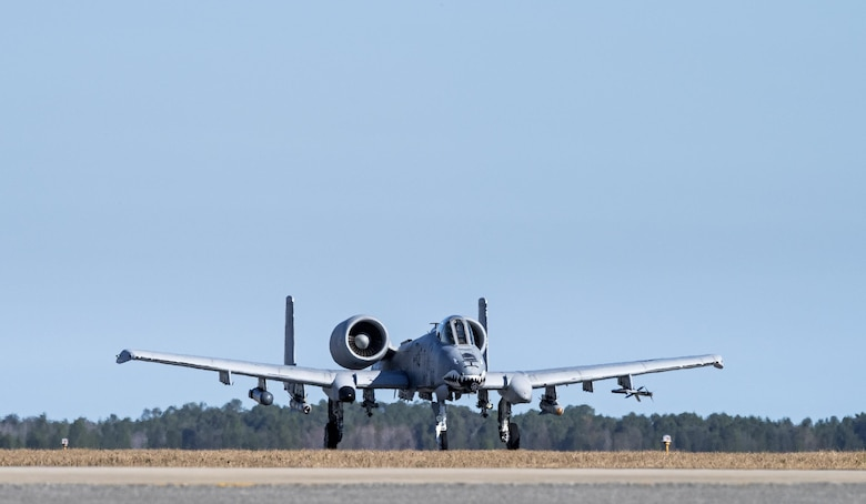 An A-10C Thunderbolt II speeds down a runway in preparation for Green Flag-West, Jan. 12, 2017, at Moody Air Force Base, Ga. During Green Flag-West, there will be a large force-on-force fight with the more than 6,000 U.S. Army Soldiers, designed to hone the skills required to integrate fixed-wing assets with ground forces. (U.S. Photo by Airman 1st Class Janiqua P. Robinson)