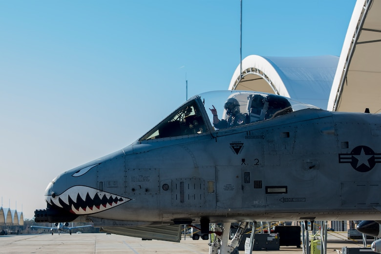 Capt. Andrew Nemethy, 74th Fighter Squadron A-10C Thunderbolt II pilot, taxis to the runway to launch for Green Flag-West, Jan. 12, 2017, at Moody Air Force Base, Ga. The exercise boasts realistic air-land integration exercise designed to provide combat training to joint and coalition warfighters. (U.S. Air Force photo by Airman 1st Class Greg Nash)