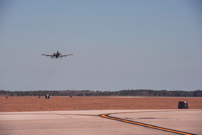 An A-10C Thunderbolt II from the 74th Fighter Squadron launches in support of Green Flag-West, Jan. 12, 2017, at Moody Air Force Base, Ga. Green Flag-West is an air-land integration exercise that the Air Force conducts with the U.S. Army. To hone their joint interoperability, the Army will conduct large-force exercises from the ground at the National Training Center at Fort Irwin, Calif., while the Air Force provides close air support to support these training objectives at Nellis AFB, Nev.
