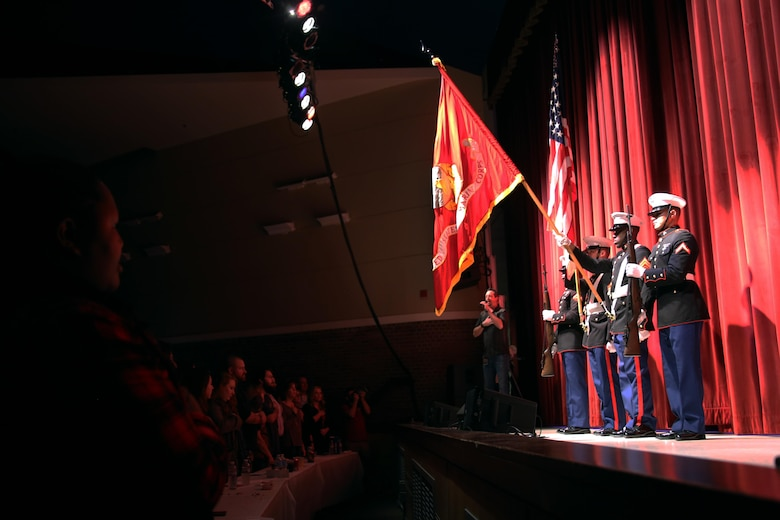 Marines present colors prior to the Cherry Point Unplugged concert aboard Marine Corps Air Station Cherry Point, N.C., Jan. 11, 2017. Marine Corps Community Services, local radio stations and numerous volunteers organized the event. Over 1,200 Marines, sailors and members of the community packed the Two Rivers Theater to enjoy the free concert featuring artists such as Aaron Lewis; Citizen Zero; A Thousand Horses; and Seasons After. (U.S. Marine Corps photo by Cpl. Mackenzie Gibson/ Released)