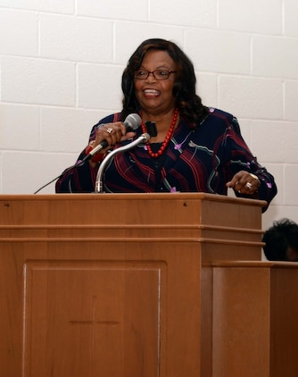Freedom Singer, Rutha Harris, wowed the crowd with a musical selection at the installation's 2017 Dr. Martin Luther King Jr. observance, Jan 11. The event, which was held at the Chapel of the Good Shepherd, aboard Marine Corps Logistics Base Albany, is a collaborative effort between Marine Corps Logistics Command, the Albany Area Chapter of Blacks in Government and MCLB Albany.