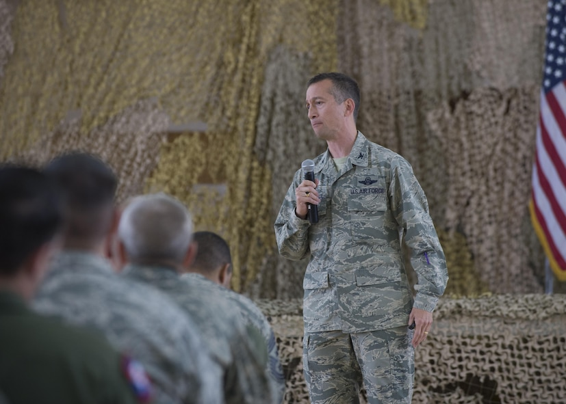 Col. Houston Cantwell, the 49th Wing commander, speaks to Airmen at an all-call on Jan. 3, 2017 at Holloman Air Force Base, N.M. Cantwell discussed the highs and lows of 2016, as well as where the wing is heading for 2017. Specifically, he mentioned the increase in Remotely Piloted Aircraft training and the Wing's new mission and vision statements. (U.S. Air Force photo by Senior Airman Emily Kenney)