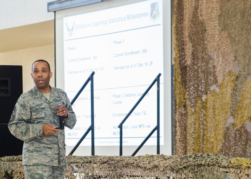 Chief Master Sgt. Barrington Bartlett, the 49th Wing command chief, speaks to Airmen at an all-call on Jan. 3, 2017 at Holloman Air Force Base, N.M. Bartlett discussed the importance of Air Force Professional Military Education. He noted that the more PME an Airman has, the more the Airman can build upon leadership abilities. (U.S. Air Force photo by Senior Airman Emily Kenney)