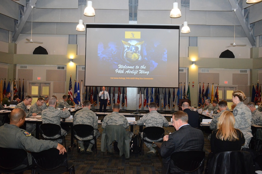 Col. James Kellogg, 94th Airlift Wing vice commander, delivers an overview of the wing mission and highlights issues concerning local Airmen during the Air Reserve Forces Policy Committee meeting at the Clay National Guard Center Drill Hall Jan. 11, 2017.  The ARFPC allows Active Guard and Reserve leaders to streamline current policies and influence the development of new ones. (U.S. Air Force photo/Don Peek)