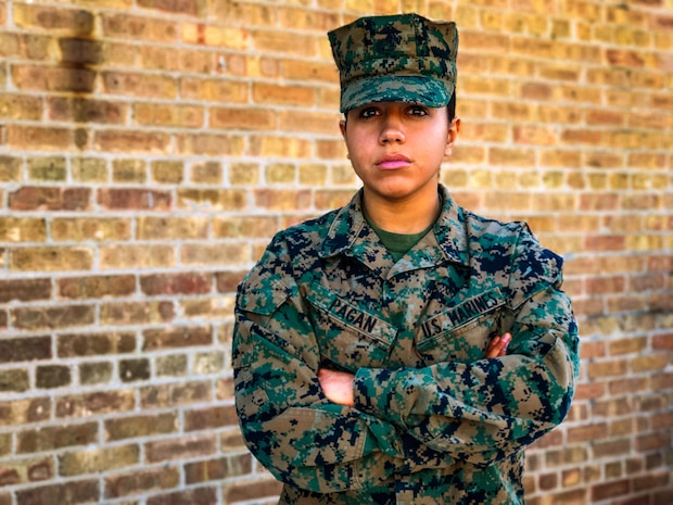 PFC Jayleen Pagan, 18, of Chicago  is currently assigned United States Marine Corps Detachment, Fort Sill, Okla., as a Marine awaiting training at the Marine Artillery School where she will train to become the Marine Corps' first female forward observer.