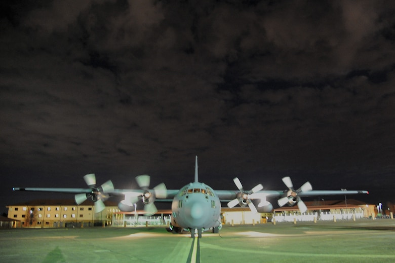 The 908th's newest aircraft taxied to a stop Jan. 12 as it arrived at Maxwell Air Force Base, Ala., from Niagra Falls Air Reserve Station, N.Y. The 1989 C-130 Hercules will replace a 1985 version. (U.S. Air Force photo by Lt. Col. Jerry Lobb)