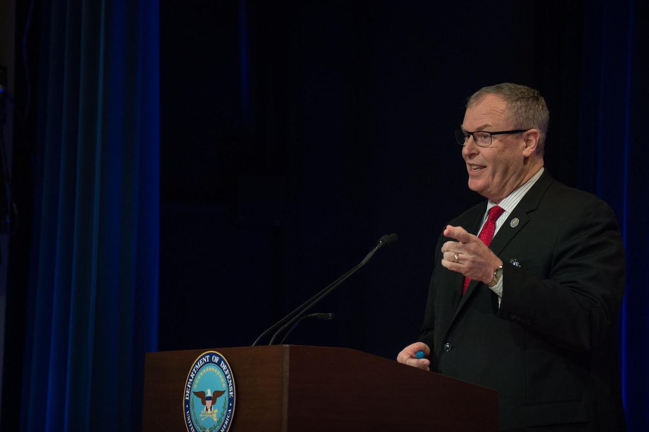 Deputy Defense Secretary Bob Work speaks during his farewell ceremony at the Pentagon in Washington, D.C., Jan. 13, 2017. DoD photo by Army Sgt. Amber I. Smith