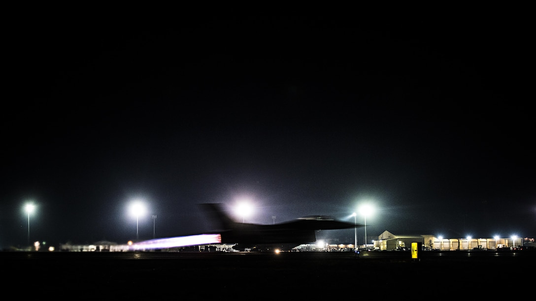 Capt. David, 79th Expeditionary Fighter Squadron pilot, takes off in an F-16 Fighting Falcon for a night mission Jan. 13, 2017 at Bagram Airfield, Afghanistan. David achieved his goal of becoming a pilot when he was accepted for officer training school in 2012 after being an enlisted maintainer for eight years. (U.S. Air Force photo by Staff Sgt. Katherine Spessa)