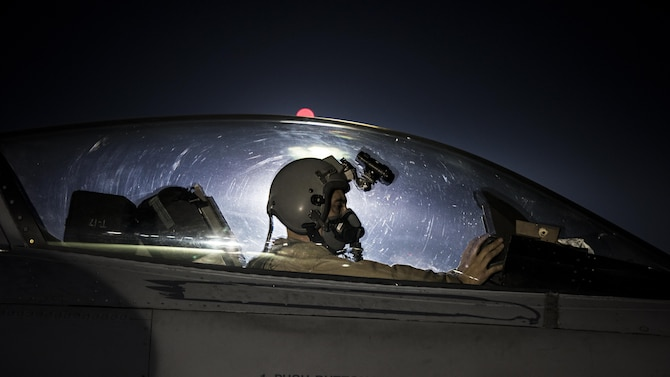 Capt. David, 79th Expeditionary Fighter Squadron pilot, taxis an F-16 Fighting Falcon before a night mission Jan. 13, 2017 at Bagram Airfield, Afghanistan. To become a pilot, David went to school while working as a maintainer, through a deployment to Balad Airfield, Iraq and temporary duties where he was often gone for three weeks out of every month. (U.S. Air Force photo by Staff Sgt. Katherine Spessa)