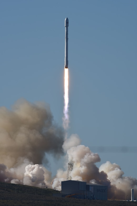 "An Iridium NEXT satellite onboard a SpaceX Falcon 9 rocket launches from Space Launch Complex-4, Jan. 14, 2017, Vandenberg Air Force Base, Calif. Iridium NEXT will replace the world's largest commercial satellite network of low-earth orbit satellites in what will be one of the largest ""tech upgrades"" in history. With multiple organizations working toward the same goal of mission success, strong working relationships among organizations are paramount. (U.S. Air Force photo by Senior Airman Ian Dudley/Released)"
