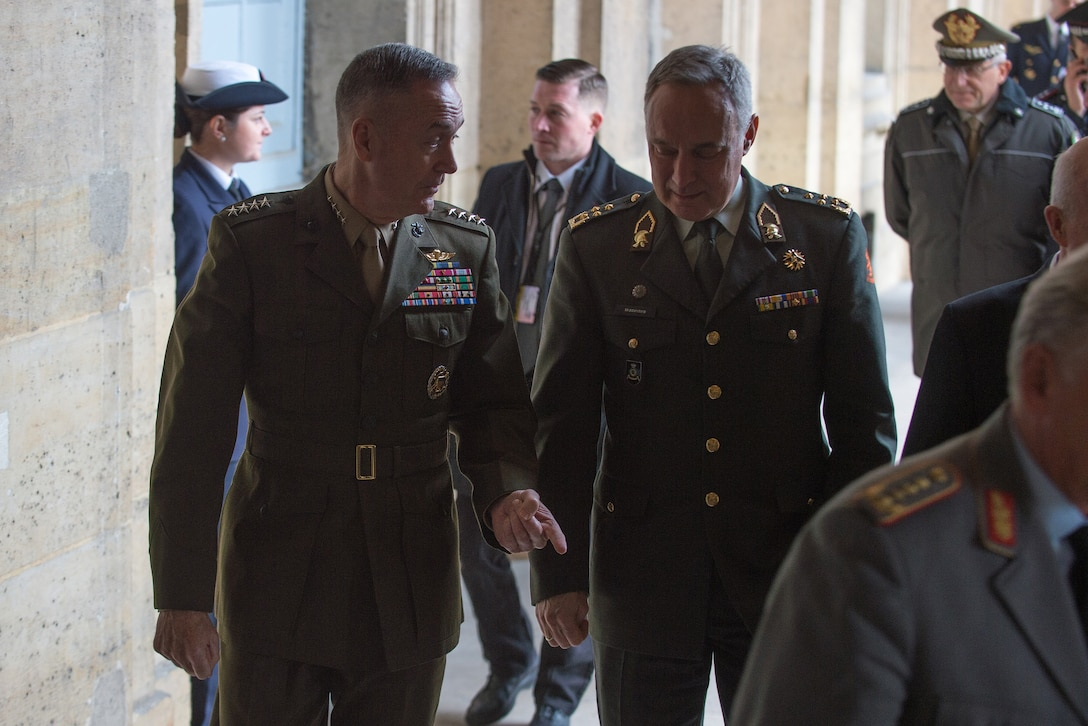 Marine Corps Gen. Joe Dunford, chairman of the Joint Chiefs of Staff, attends a conference with counterparts to discuss the campaign to defeat the Islamic State of Iraq.