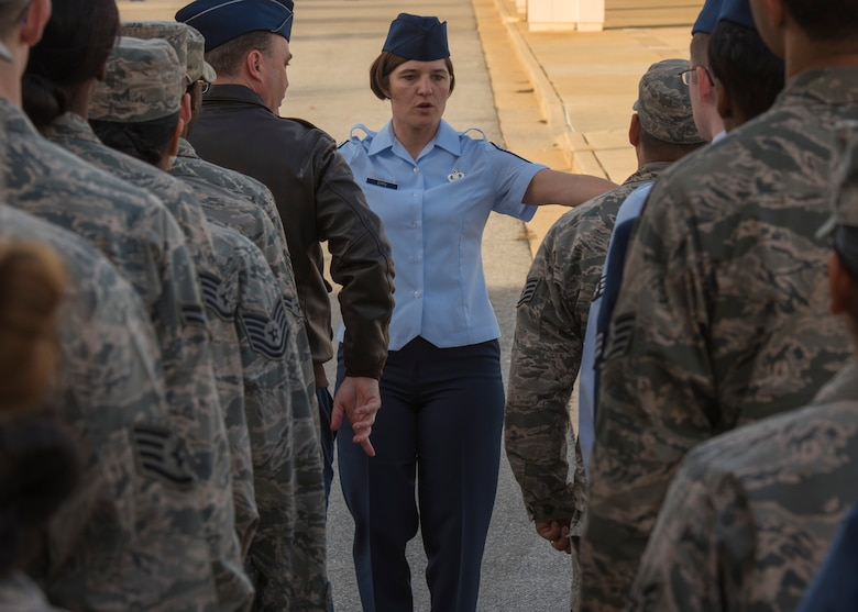 Chief Master Sgt. Jodi Epps, Wing Staff Agency superintendent, leads the cordon rehearsal in preparation for the 58th Presidential Inauguration at Joint Base Andrews, Md., Jan. 12, 2017. There will be more than 1,500 military members forming the street cordon and lining the inaugural parade route to render honors to the commander in chief, Jan. 20. (U.S. Air Force photo by Airman 1st Class Valentina Lopez)