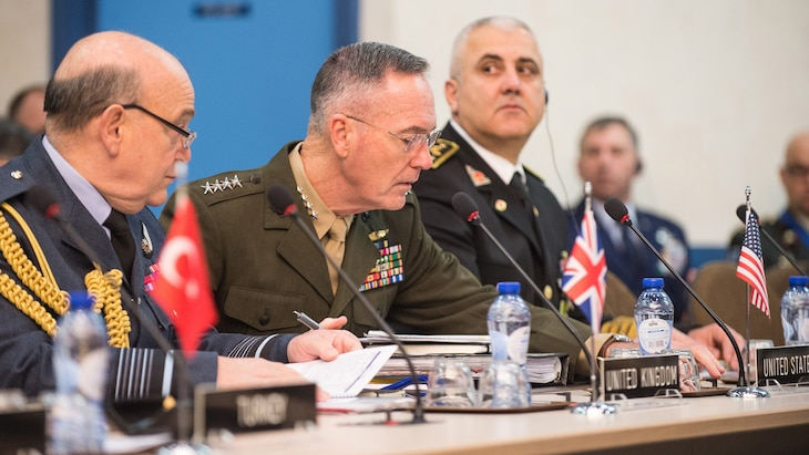 Marine Corps Gen. Joe Dunford, chairman of the Joint Chiefs of Staff, meets with his counterparts at a NATO meeting in Brussels, Jan. 17, 2017. DoD photo by Army Sgt. James K. McCann