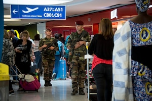 French soldiers provide security at an airport in France as part of Operation Sentinelle. About 13,000 French service members are helping protect France against the threat of extremists. French Ministry of Defense photo