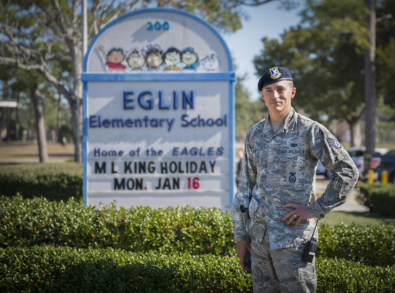 Staff Sgt. Justin Hogg, 96th Security Forces Squadron, is the new School Resource Officer at Eglin Elementary. He is the first Security Forces SRO in the Air Force. School resource officers provide security and crime prevention services to the campuses they serve. (U.S. Air Force photo/Cheryl Sawyers)