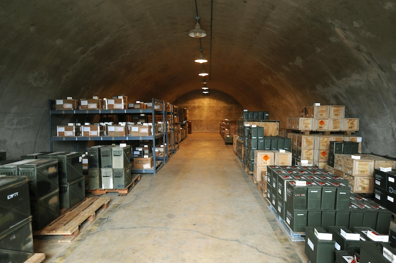 Ammunition containers are stored in an underground bunker for safe keeping by the 19th Maintenance Squadron munitions flight Dec. 13, 2016, at Little Rock Air Force Base, Ark. The munitions flight has the only DOD munitions storage area in the region. (U.S. Air Force photo by Airman 1st Class Grace Nichols)