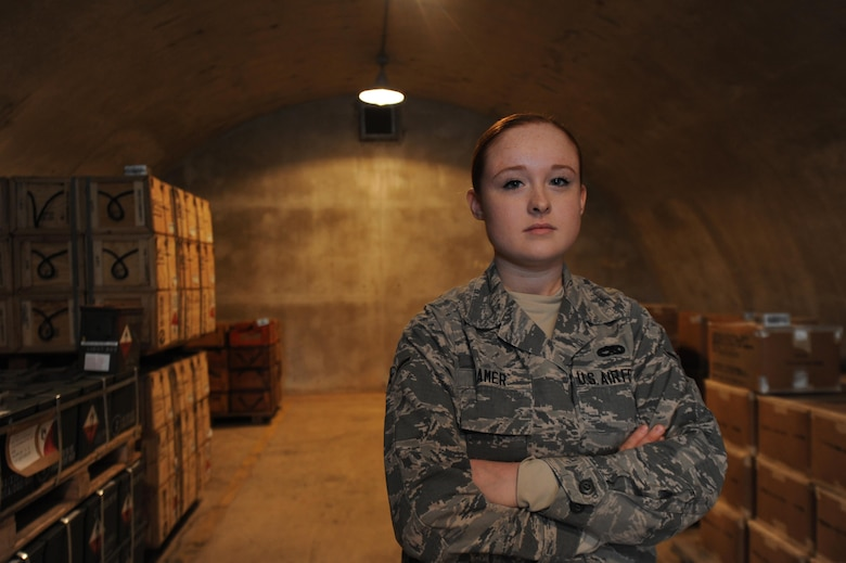 U.S. Air Force Airman Karliepatricia Shamer, 19th Maintenance Squadron munitions storage crew member, transports and stores ammunition on a weekly basis Dec. 13, 2016, at Little Rock Air Force Base, Ark. A team of 19 Airmen inspect and store ammunition on more than 80 acres of land on Little Rock AFB. (U.S. Air Force photo by Airman 1st Class Grace Nichols)