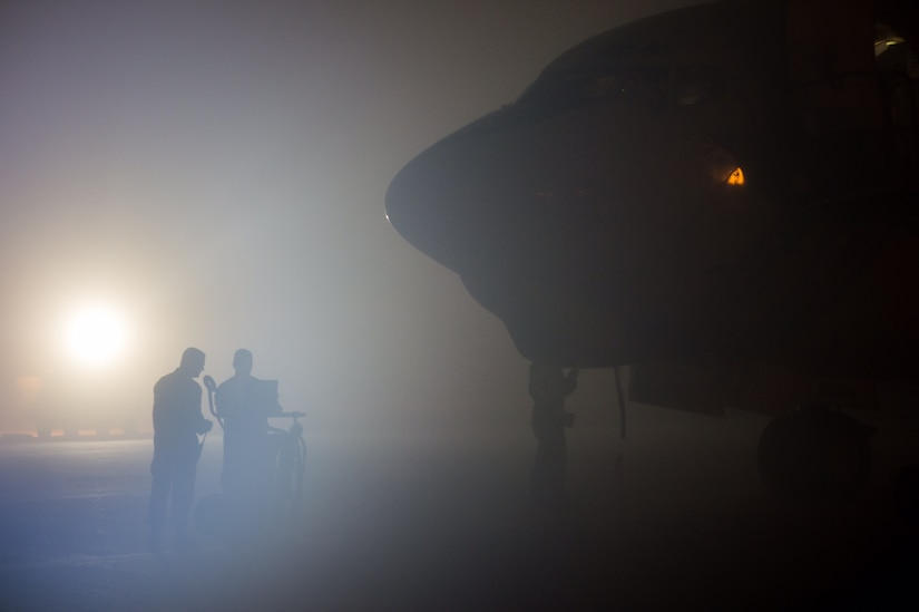A 380th Expeditionary Aircraft Maintenance Squadron crew begins an E-3 Sentry post-flight inspection after a sortie in support of Combined Joint Task Force Operation Inherent Resolve in Southwest Asia, Jan. 12, 2017. The E-3 Sentry has provided a real-time picture of the battle space for coalition aircraft working to weaken and destroy Islamic State in Iraq and the Levant operations in the Middle East region and around the world. Air Force photo by Senior Airman Tyler Woodward