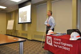 Nathanael Wales, a civil engineer in the Planning Division, presents during STEM (science, technology, engineering and math) Career Day at the U.S. Army Corps of Engineers, New York District. He spoke about shoreline erosion and the many processes the Corps must complete before constructing a civil works project. (Photo: James D'Ambrosio, Public Affairs Specialist).