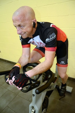 U.S. Air Force Lt. Col. retired Gary Rudman, United States Air Forces Central Command Safety deputy director, cycles at Shaw Air Force Base, S.C., Dec. 14, 2016. Rudman is conditioning his body to climb Mount Kilimanjaro, Tanzania, to raise money for multiple myeloma research in February. (U.S. Air Force photo by Tech. Sgt. Jim Araos/Released)