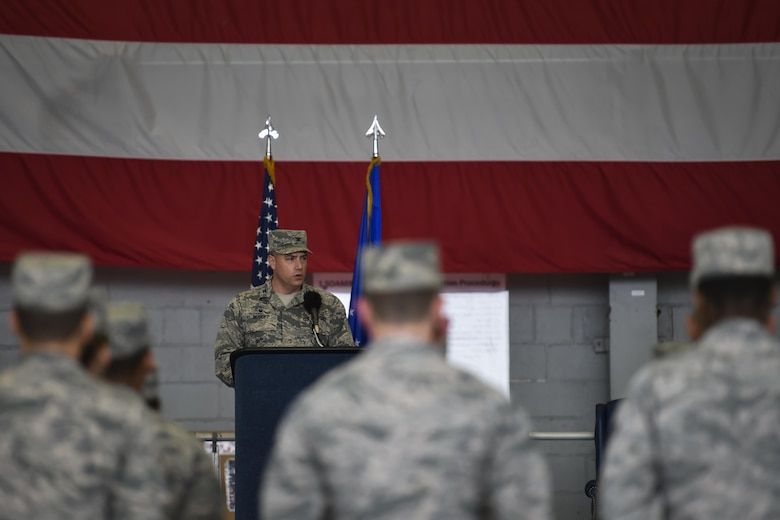 Col. Harry Seibert, commander of the 1st Special Operations Maintenance Group, speaks during the 1st Special Operations Aircraft Maintenance Squadron Assumption of Command ceremony at Hurlburt Field, Fla., Jan. 12, 2017. Lt. Col. Philip Broyles, who previously served as the commander of the 801st Special Operations Aircraft Maintenance Squadron, assumed command of the 1st SOAMXS. (U.S. Air Force photo by Airman 1st Class Joseph Pick)