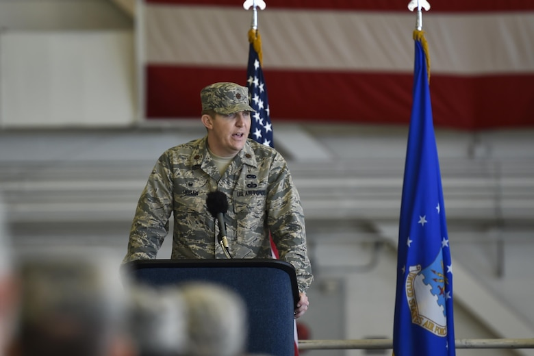 Maj. Bryan Hogan, commander of the 801st Special Operations Aircraft Maintenance Squadron, gives remarks during a change of command ceremony at Hurlburt Field, Fla., Jan. 12, 2017. Hogan took command of the 801st SOAMXS from outgoing commander, Lt. Col. Philip Broyles. (U.S. Air Force photo by Airman 1st Class Joseph Pick)