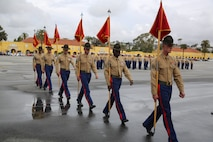 Drill instructors from Fox Company, 2nd Recruit Training Battalion, march in formation after receiving the guidons from the company honormen during the graduation ceremony at Marine Corps Recruit Depot San Diego, Jan. 13. These guidons have been carried by the platoon guides for the duration of training, and this portion of the ceremony marks the disbanding of the platoons. Annually, more than 17,000 males recruited from the Western Recruiting Region are trained at MCRD San Diego.