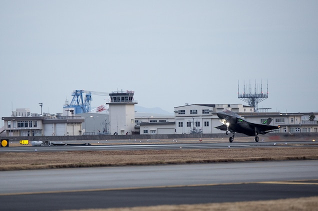 An F-35B Lightning II with Marine Fighter Attack Squadron (VMFA) 121, lands at Marine Corps Air Station Iwakuni, Japan, Jan. 18, 2017. VMFA-121 conducted a permanent change of station to MCAS Iwakuni, from MCAS Yuma, Ariz., and now belongs to Marine Aircraft Group 12, 1st Marine Aircraft Wing, III Marine Expeditionary Force. The F-35B Lightning II is a fifth-generation fighter, which is the world's first operational supersonic short takeoff and vertical landing aircraft. The F-35B brings strategic agility, operational flexibility and tactical supremacy to III MEF with a mission radius greater than that of the F/A-18 Hornet and AV-8B Harrier II in support of the U.S. - Japan alliance. (U.S. Marine Corps photo by Lance Cpl. Jacob A. Farbo)