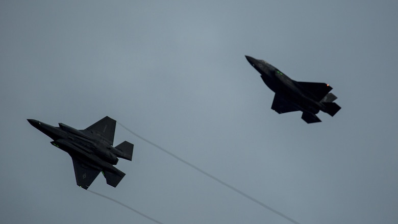Two F-35B Lightning II aircraft with Marine Fighter Attack Squadron 121, prepare to land at Marine Corps Air Station Iwakuni, Japan, Jan. 18, 2017. VMFA-121 conducted a permanent change of station to MCAS Iwakuni, from MCAS Yuma, Ariz., and now belongs to Marine Aircraft Group 12, 1st Marine Aircraft Wing, III Marine Expeditionary Force. The F-35B Lightning II is a fifth-generation fighter, which is the world's first operational supersonic short takeoff and vertical landing aircraft. The F-35B brings strategic agility, operational flexibility and tactical supremacy to III MEF with a mission radius greater than that of the F/A-18 Hornet and AV-8B Harrier II in support of the U.S. – Japan alliance.